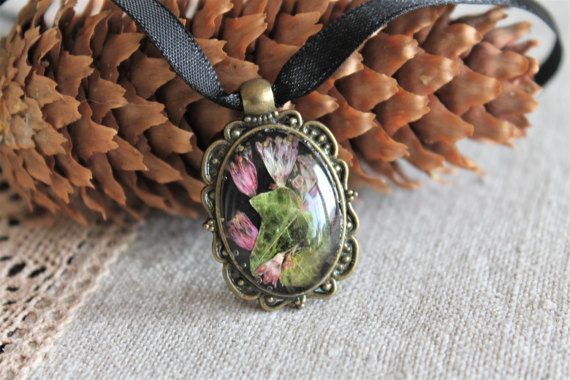Oval pressed flower terrarium pendant botanical forest by Miodunka