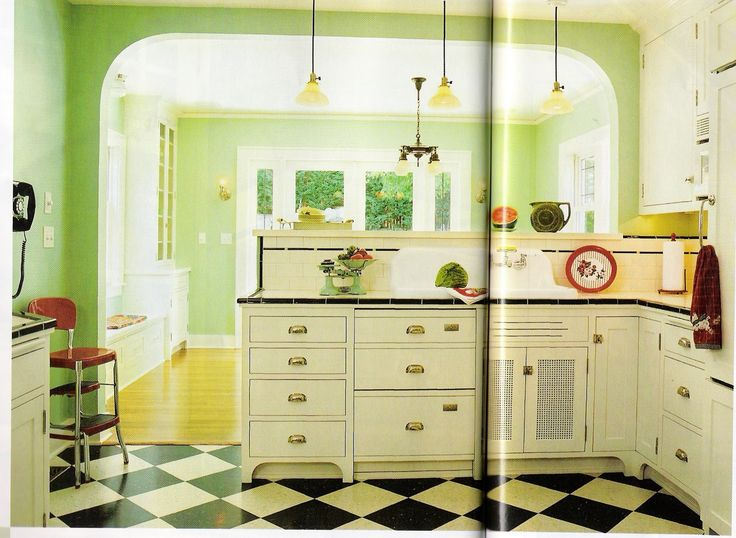 retro kitchen design. 146 best Vintage Kitchen ideas images on Pinterest  For the home Green tiles and Home
