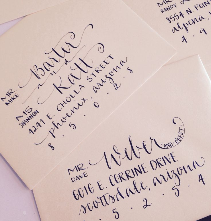 Hand addressed calligraphy envelopes