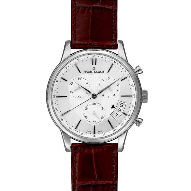 Claude Bernard Men's 01002 3 AIN Classic Chrono Dial Brown Strap Watch
