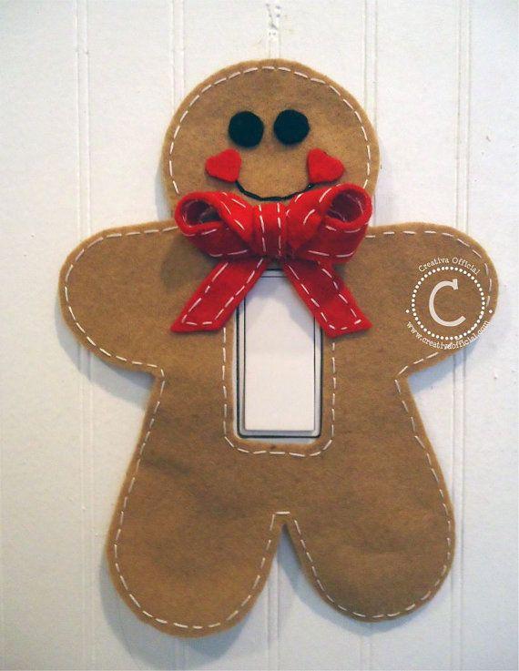 Galleta de gengibre de fieltro para tu apagador / Gingerbread Man Christmas Light Switch Decoration