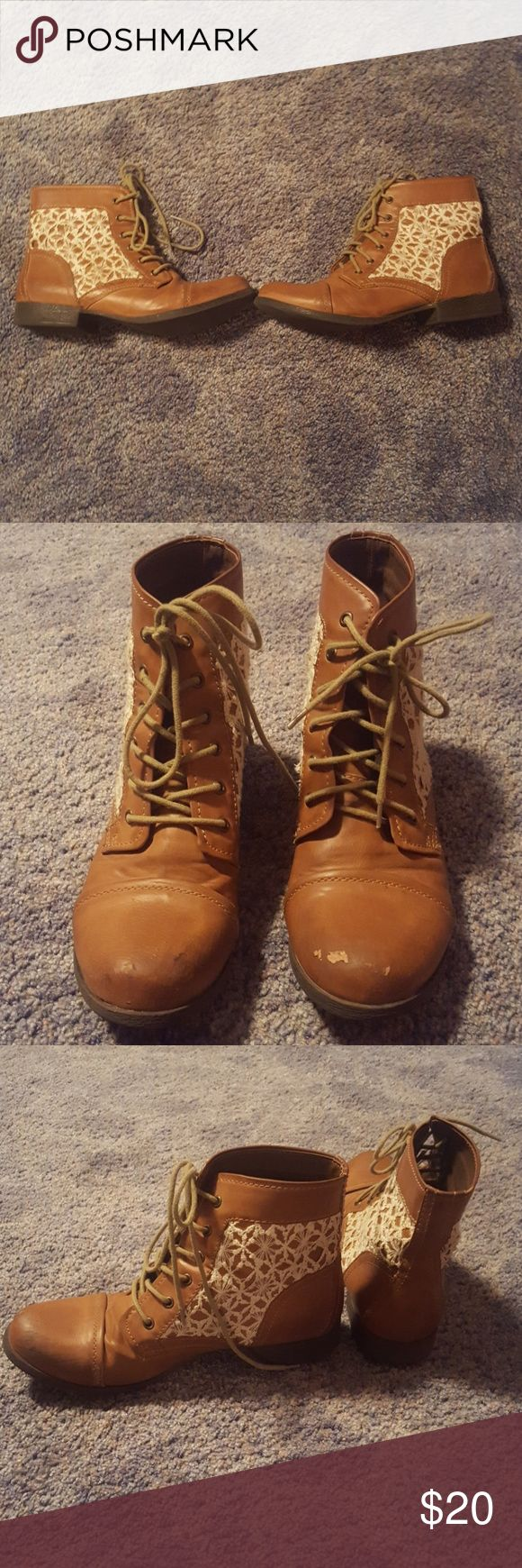 Madden girl shirt brown boots with lace sides Lace up short combat boots A bit of stuffing I'm toes Madden Girl Shoes Combat & Moto Boots