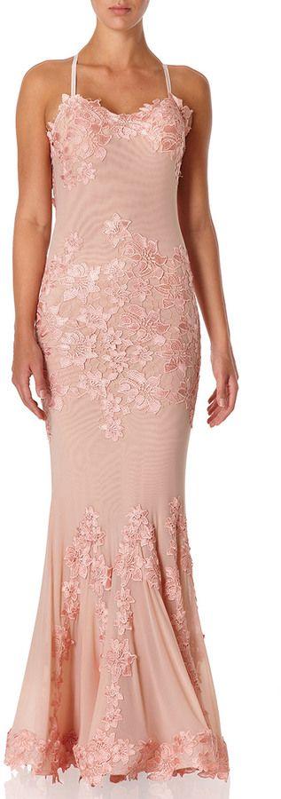 PORSIA - Nude Lace Fishtail Maxi Dress