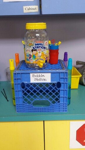 A bubble station for our preschool playground!!
