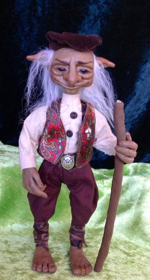 "OOAK original sculpted clay art doll ""Thomfelf"" forest troll hand sculpted by Kaye Schlenert of Kotton Valley Dolls. www.facebook.com/Raggedydreaming?ref=hl"