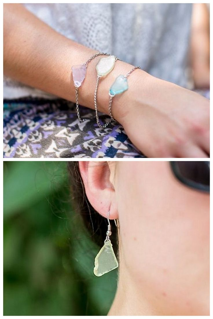 DIY No Drill Sea Glass Jewelry Tutorial from The Sweetest Occasion here.Wire wrapping sea glass is another no drill option. Also, Im so happy thatStephanie Gerberfound sea glass in the mosaic section of her craft store, because not all of live near an ocean beach.