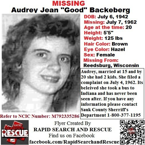 """Current Missing Person flyers from Wisconsin in the 1950s To assist with Amber Alerts and missing person cases through flyer and picture sharing on Facebook please """"Like"""" Rapid Search and Rescue on Facebook: facebook.com/RapidsSAR Follow us on twitter also @Rapid_SAR"""