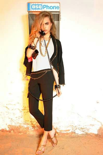 The Look: Cara Deviligne for DSquared2 Resort 2013.