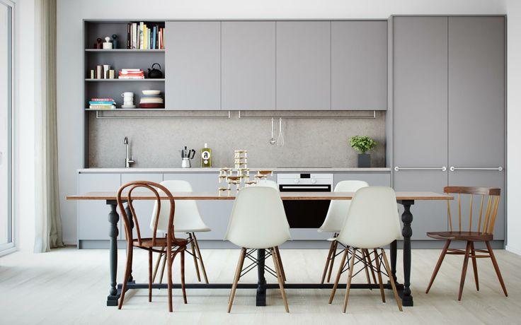 Långa linjer och smart kokbokshylla i visualisering från Oscar Properties
