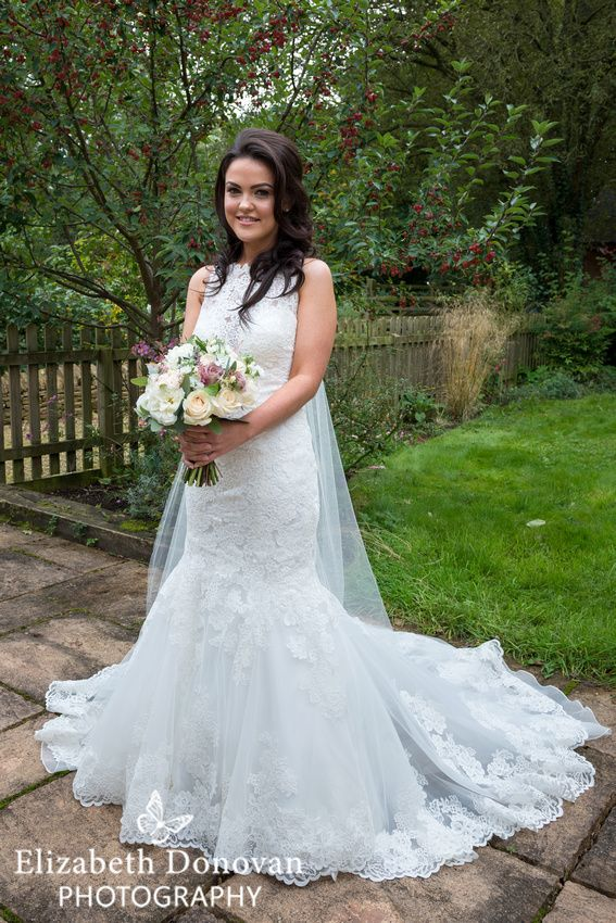 Stunning bride in lace fishtail wedding dress, Flowers of Bath ...