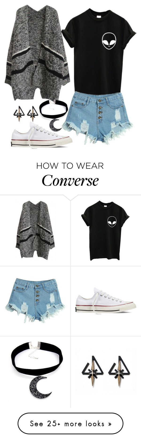 """""""Casual"""" by chap15906248 on Polyvore featuring WithChic, Converse, women's clothing, women's fashion, women, female, woman, misses and juniors"""