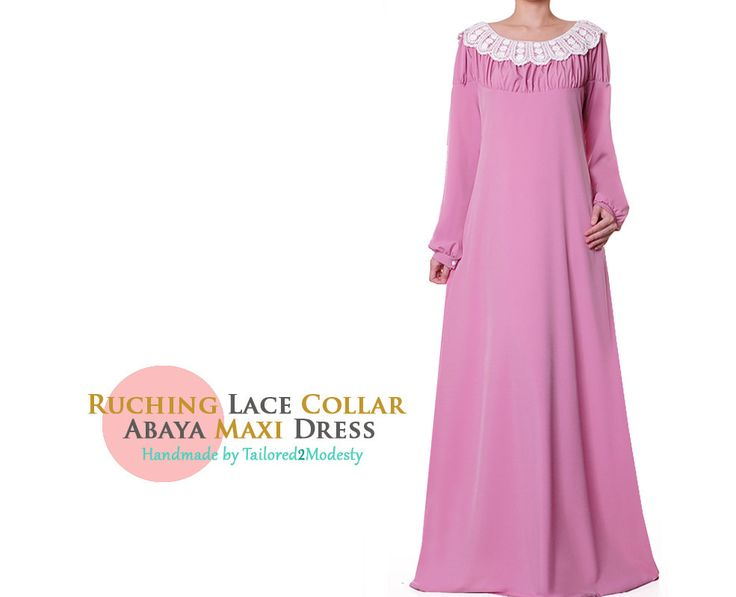 FREE SHIPPING! Rose Pink Ruching Round Lace Collar Neckline Long Sleeves Abaya Maxi Dress - Size S/M 4995 by Tailored2Modesty on Etsy