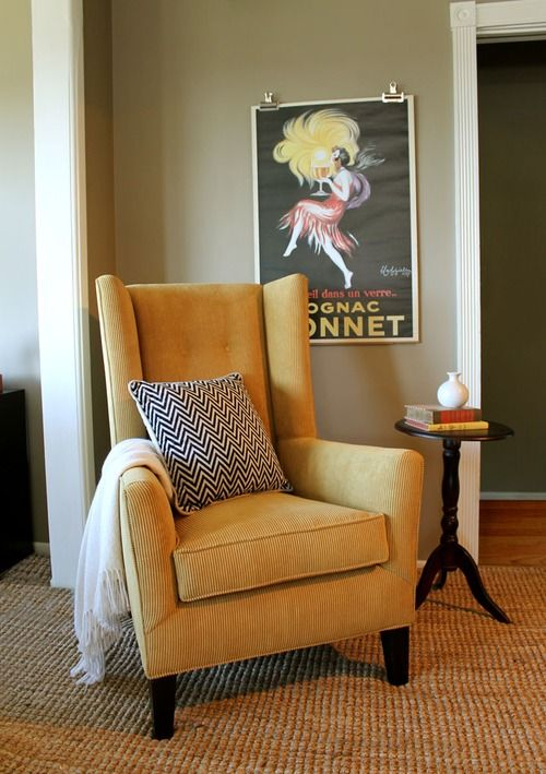 Ochre Yellow Corduroy Wingback Chair Madison Modern Home