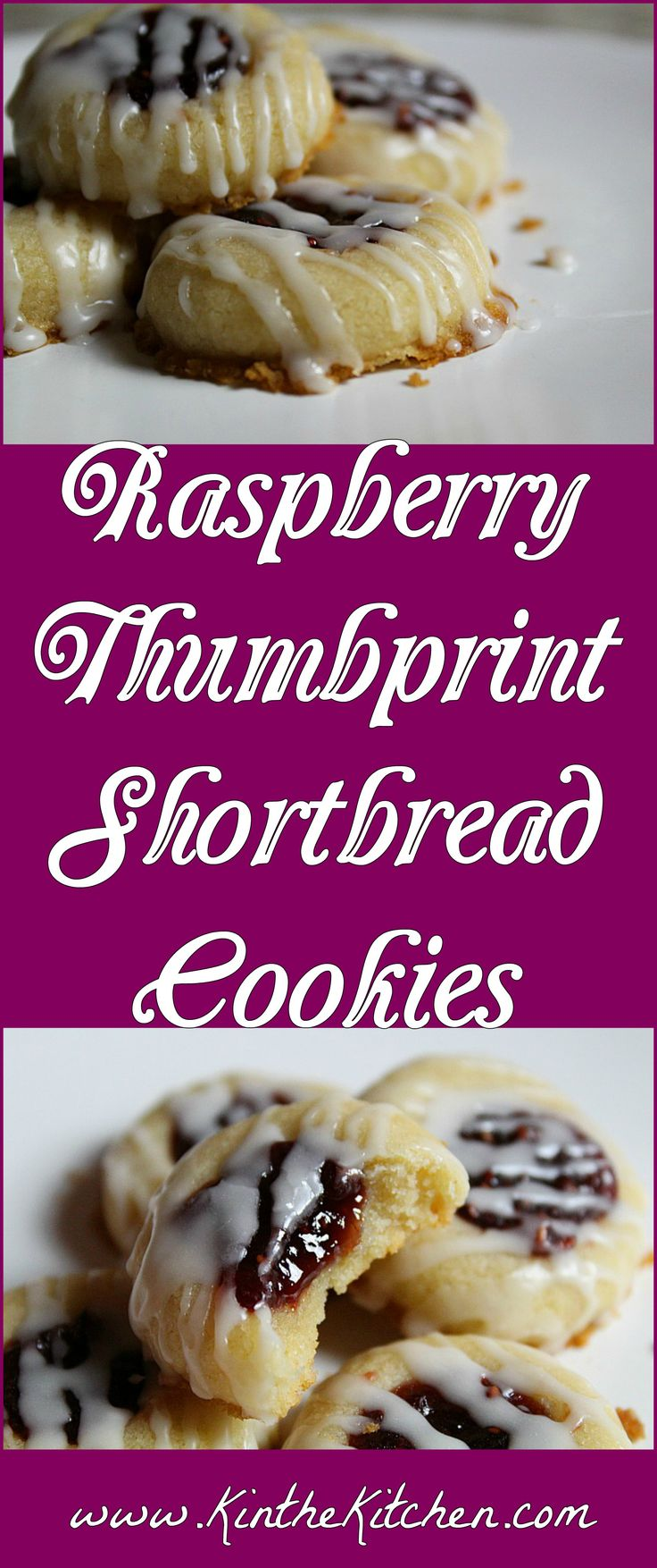 One of my favorite cookie recipes – these buttery shortbread cookies are topped with raspberry preserves and drizzled with glaze icing.