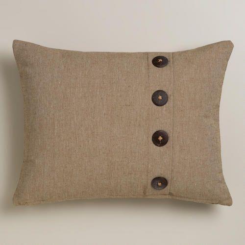 natural ribbed lumbar pillow with buttons