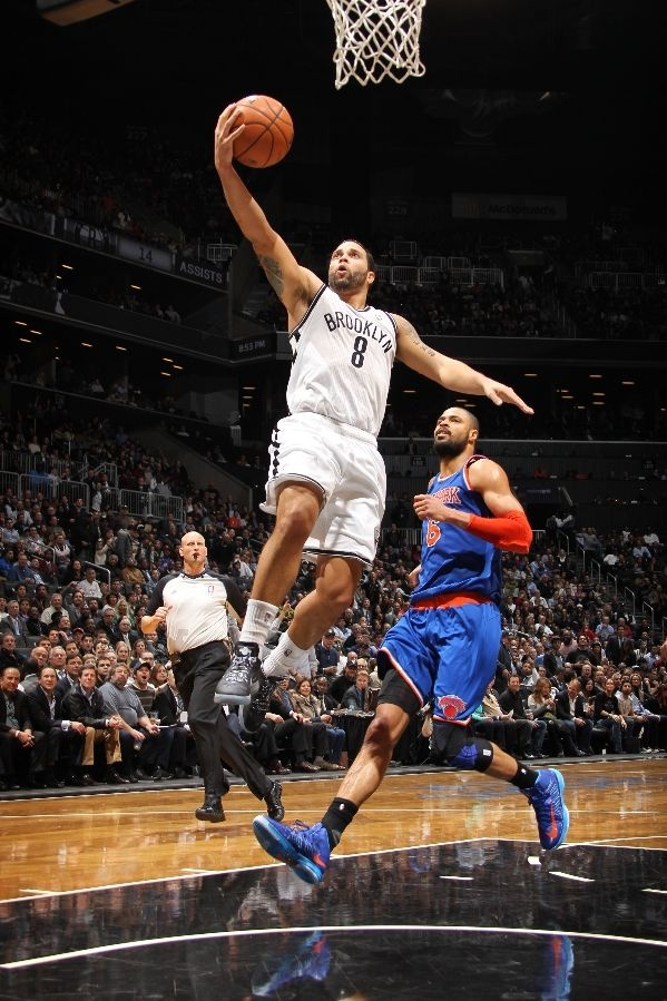 Deron Williams #8 of the Brooklyn Nets against the New York Knicks on November 26, 2012 at the Barclays Center in Brooklyn