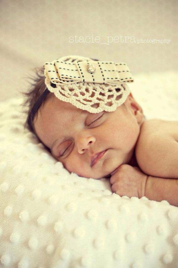 Razzle Dazzle headband crochet newborn baby girls headband photography prop handmade neutral tone  on Etsy, $21.95 AUD
