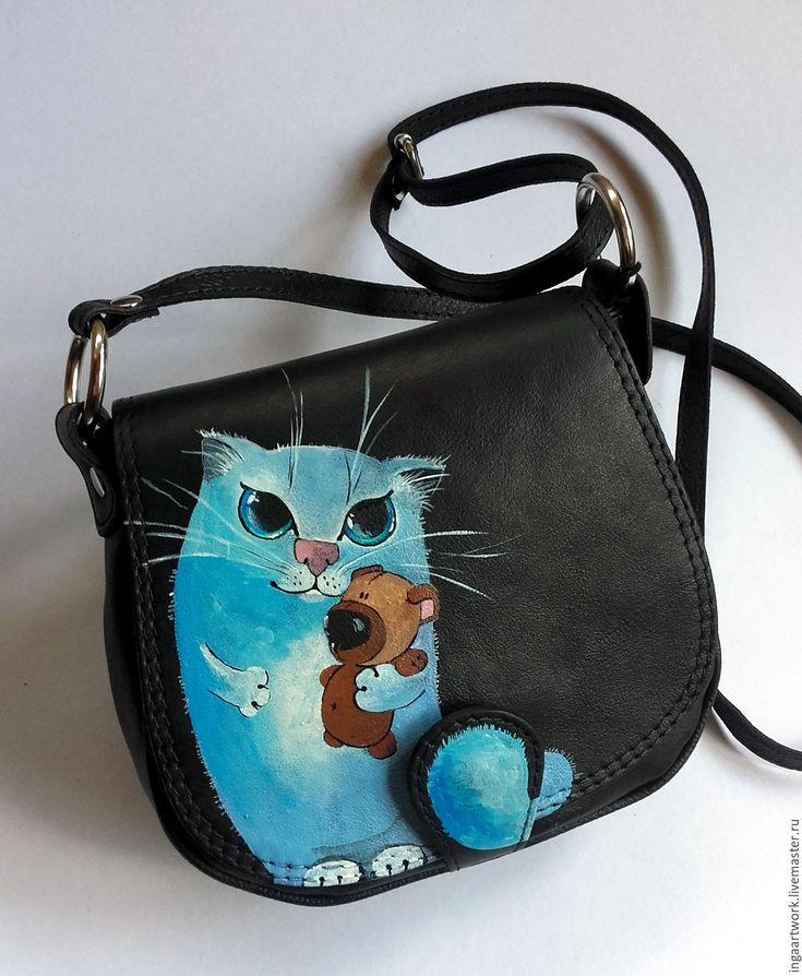 """Купить Кожаная сумочка """"Пушистики"""". Ручная роспись. Нат. кожа - сумка, сумка из натуральной кожи"""