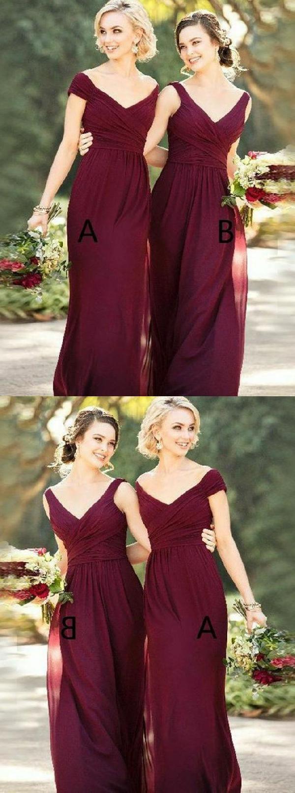 Discount Colorful Bridesmaid Dress Long, Burgundy Bridesmaid Dress