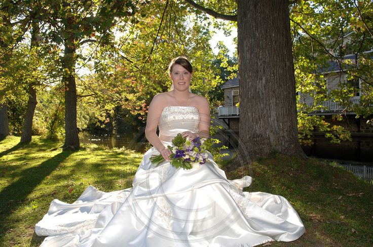 Bride relaxing at Code's Mill On The Park in Perth, Ontario