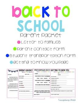 "Back to School Forms Print-and-go forms to send home on the first day Includes • Letter home • Parent contact form • Dismissal Transportation form • A ""Getting to Know You"" Page Check out my other Back To School Activities Classroom Scavenger"
