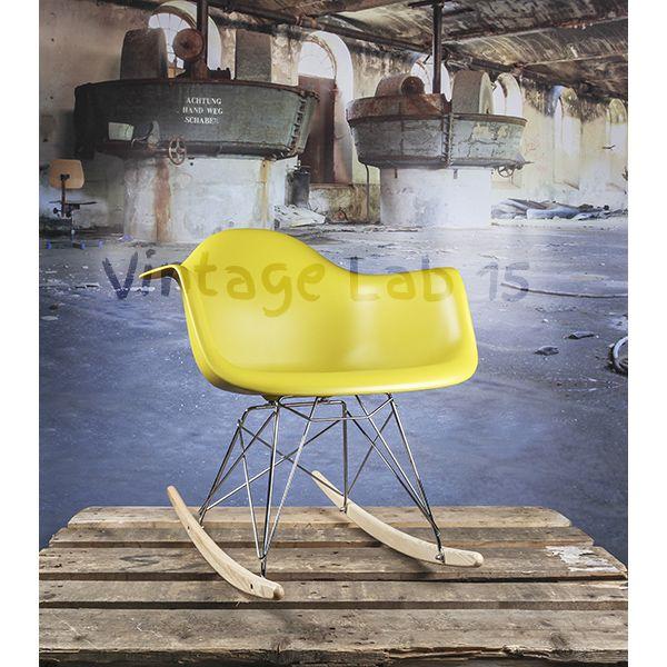 Design Eames RAR Schommelstoel mosterd geel - Vintagelab15.com