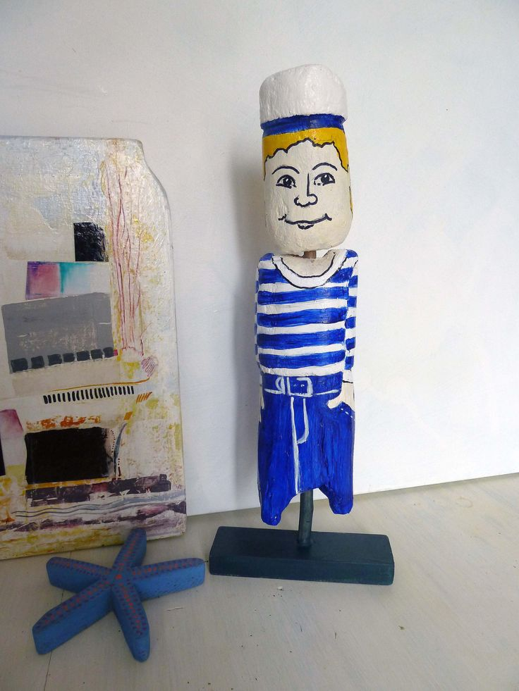 Hand-painted Driftwood sculpture, Hullo Sailor, original, Beach themed gift, home decor, wood art, child gift, timber figurine by ArtiSueBee on Etsy