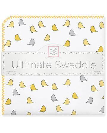 SwaddleDesigns Little Chickies желтая  — 2100р. ---------------- Теплая фланелевая пеленка будет выглядеть как новая даже после многократных стирок. Ткань не теряет своей мягкости и не выцветает.