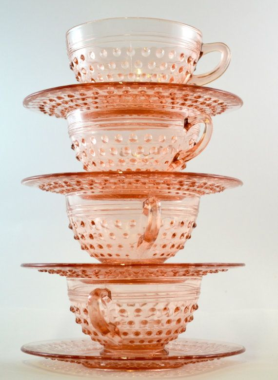 Pink Hobnail Cup and Saucer Set Hocking Glass