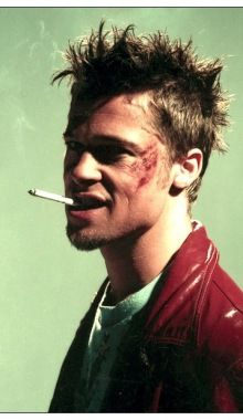 Brad Pity as Tyler Durden in The Fight Club.