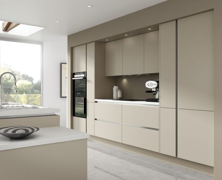 7 Piece Kitchen Units - Warm Grey Handless Kitchen Rigid Built + Doors Fitted