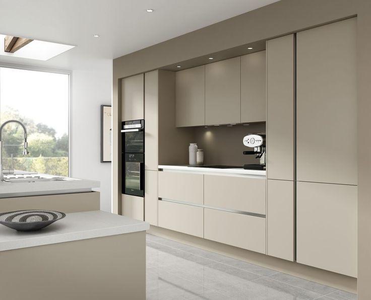 7 Piece Kitchen Units - Warm Grey Handless Kitchen Rigid Built + Doors Fitted