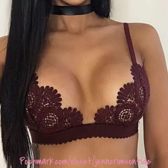 "Shop Women's Boutique Purple Red size Various Bras at a discounted price at Poshmark. Description: Burgundy wine crochet bra top w/strappy back. A cute piece of lingerie or for loose tanks & sheer tops! Unpadded, wireless, sheer. Polyester/spandex. Measurements: S: app 27"" band length M: app 29.5"" band L L: app 33.5"" band L XL: app 35"" band L Sizing help: the crochet isn't like cups, but a small coverage area. Select which straps/band will fit..."
