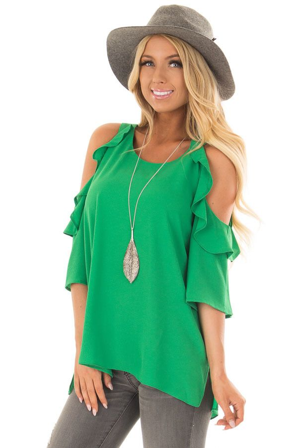 cd64294f8132ef Lime Lush Boutique - Kelly Green Cold Shoulder 3/4 Sleeve Top with Ruffle  Detail