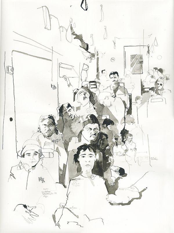 George Butler Reportage Illustrator Bording train