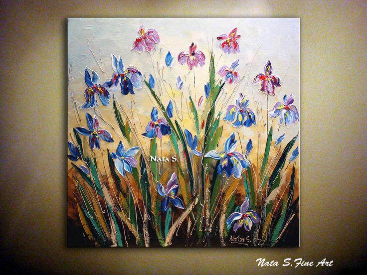 Iris salvaje ORIGINAL pintura contemporánea. por natasartstudio