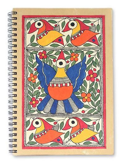 Madhubani painting journal - Festive Birds | NOVICA