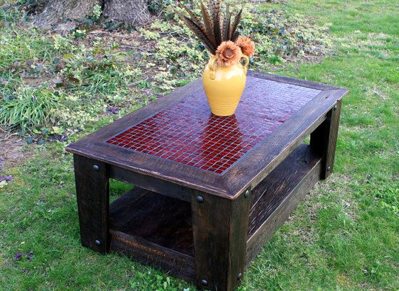 """Coffee Table with Casters, Glass Mosaic Centerpiece, """"Fire & Ice"""", Rustic Contemporary, Dark Brown Finish  - Handmade"""