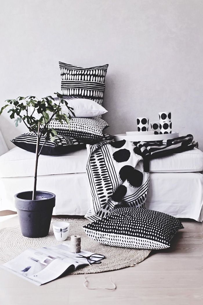 black and white. Textiles and cushion shoot.