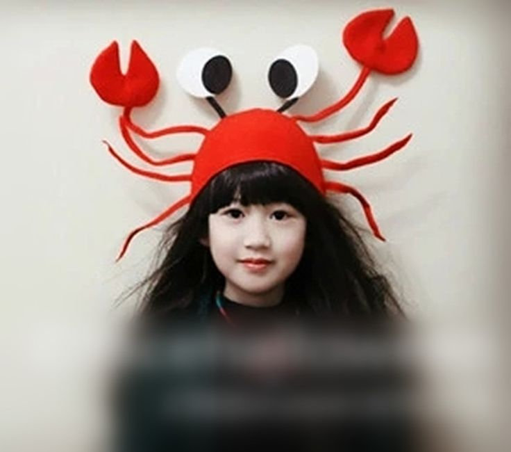 creative new interesting funny felt red crab girl halloween hat children kids christmas hats for birthday party