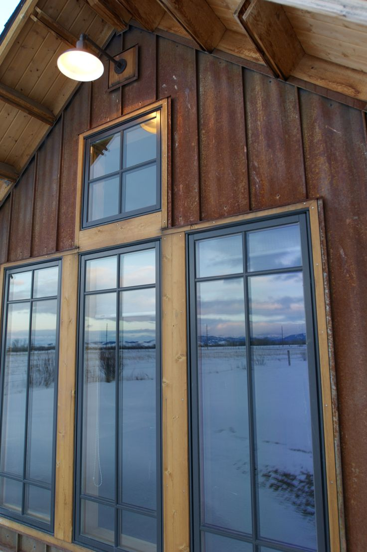 Rustic siding done in Steel. Will outlast other board and batten style siding products. This is TRUTEN™ Mechanical Lock siding by Bridger Steel.