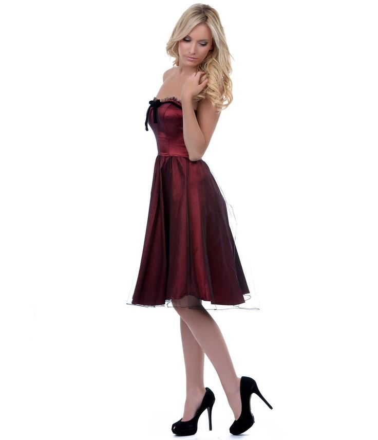 The Vicky Maroon Tulle Dress - Unique Vintage - Prom dresses, retro dresses, retro swimsuits.