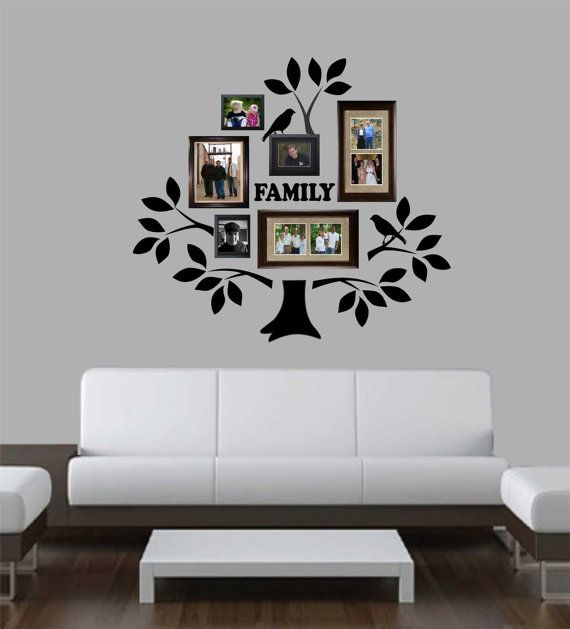 Self-adhesive Vinyl Wall Lettering FAMILY TREE KIT INCLUDES: 5 Branches 25 Leaves 2 Birds (each are 7 x 6) Tree Trunk (measures 11.5 x 11.5) FAMILY