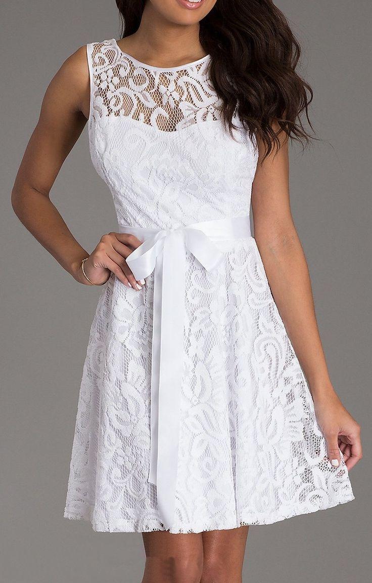 nee Length White Lace Dress Short Bridesmaid Sleeveless Bow Waist #discountdressshop #white #choir #dress