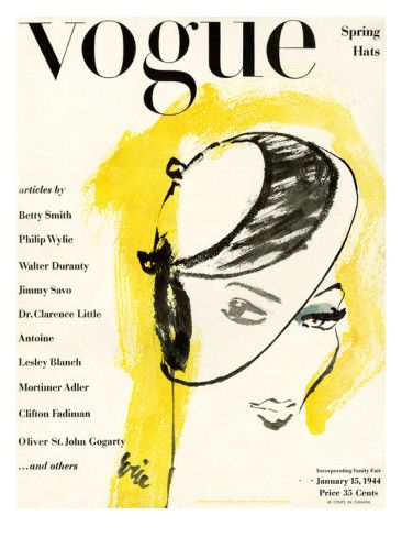 """Vogue Cover - January 15 1944 Poster Print by Carl """"Eric"""" Erickson at the Condé Nast Collection"""