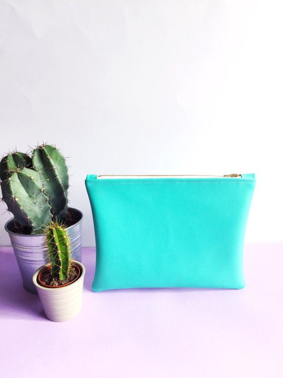 Mint Green Leatherette Pouch With Flamingo by FantasticCraftyFox