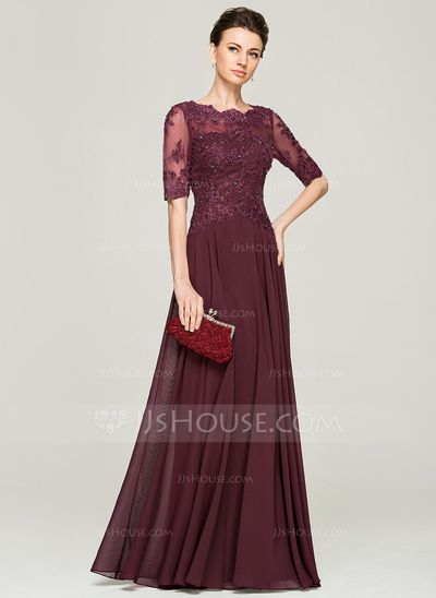 [US$ 166.49] A-Line/Princess Scoop Neck Floor-Length Chiffon Lace Mother of the Bride Dress With Beading Sequins