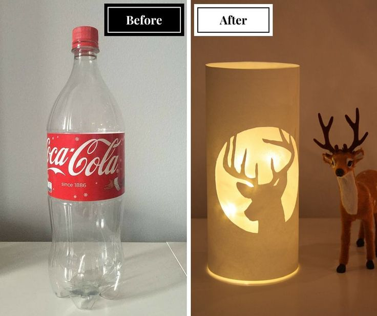 DIY-idea: Make a beautiful lamp from Coca Cola bottle./ DIY valaisin. Tyhjästä Coca Cola -pullosta tehty tunnelmavalaisin. Watch video tutorial: https://www.youtube.com/watch?v=X15hz4tBKT0