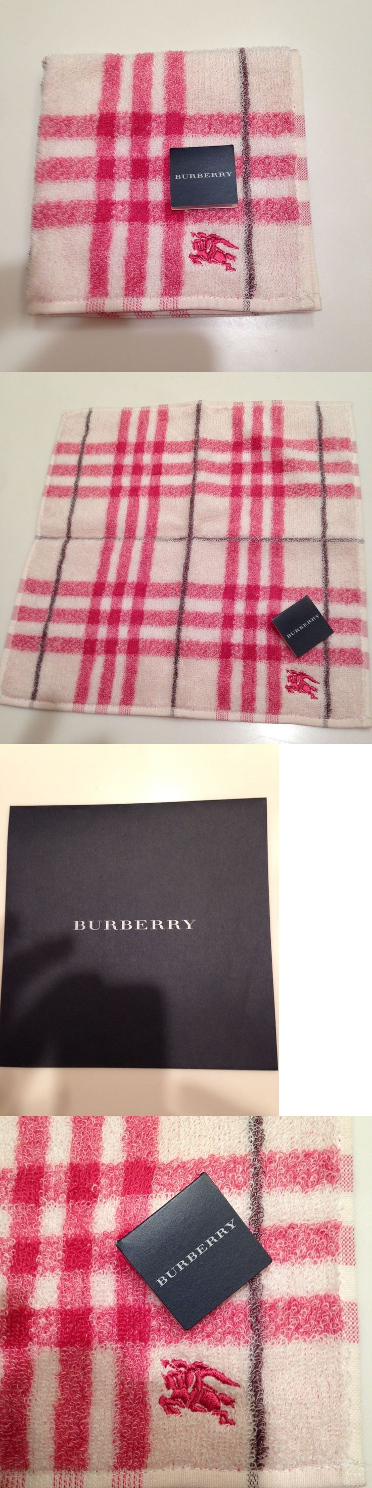 Handkerchiefs 167906: Nwt Authentic Burberry Purse Hand Towel, Pocket Towel, Baby Towel,Pink, White -> BUY IT NOW ONLY: $49.7 on eBay!