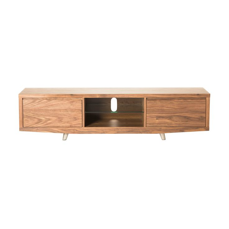 This lovely natural walnut wood TV stand has a classic appeal and plenty of storage to make it perfect for your home. With two closed-cabinets and two open shelves with one pass-through hole for cables on top, this stand is functional and stylish.
